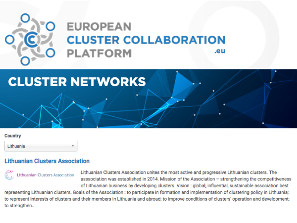 Lithuanian Clusters Association is recognized by ECCP